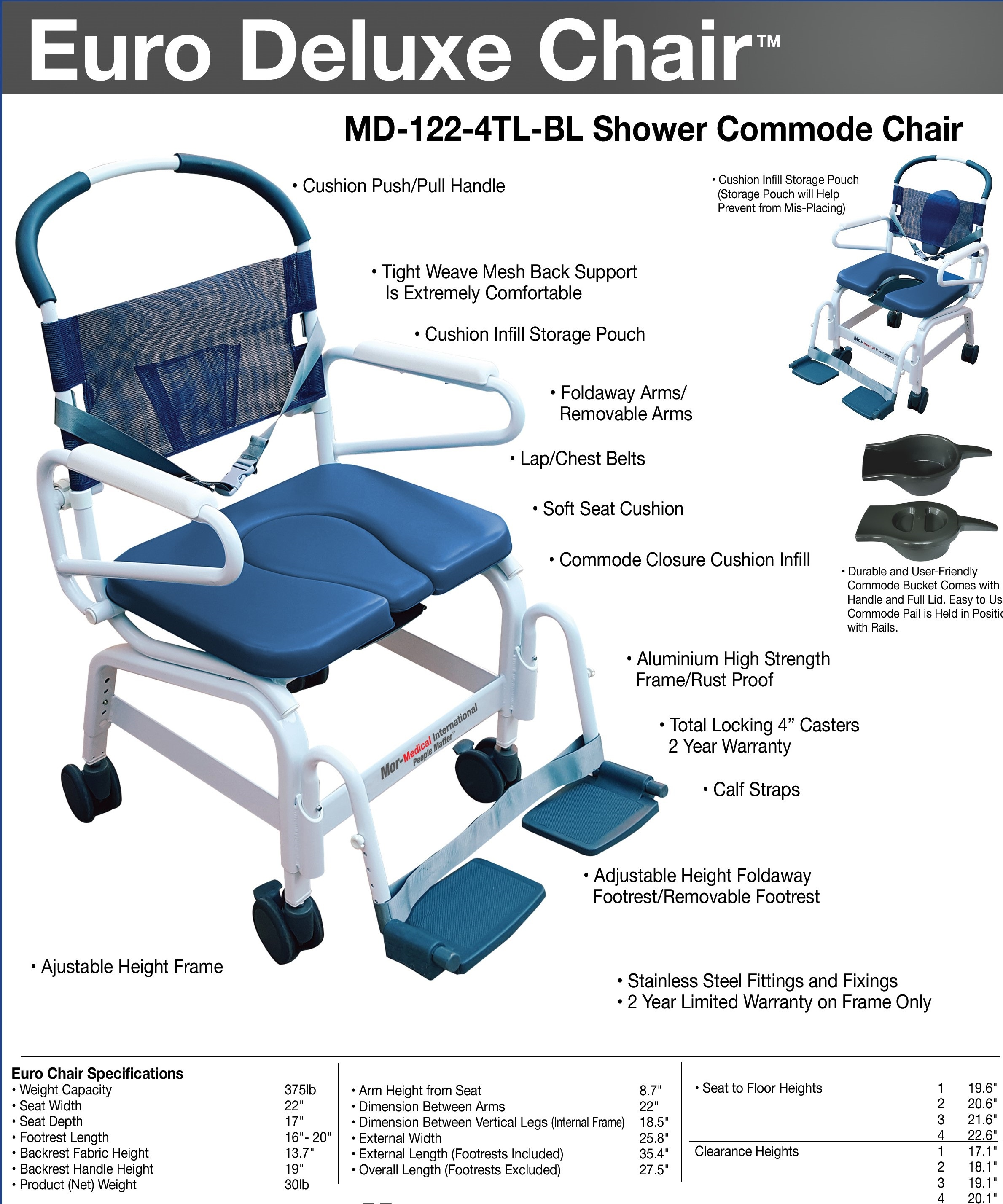 Handicap shower chairs pvc reclining shower commode chairs - Euro Deluxe Shower Chair122 4tl 2 Jpg