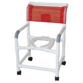 standard wide rollin shower chair white