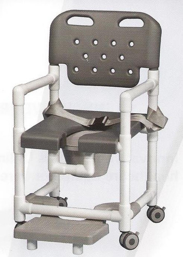 elite series rolling shower chair with seat belt and footrest