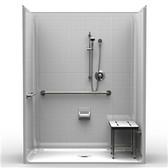 """ADA Roll-In Shower Five Piece 63 X 33 3/4"""" Threshold"""