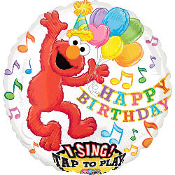 "Elmo Birthday singing balloon. Bouquet includes 4, 18"" mylar balloons (not pictured)."
