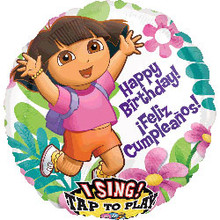 "Dora Birthday singing balloon. Bouquet includes 4, 18"" mylar balloons (not pictured)."