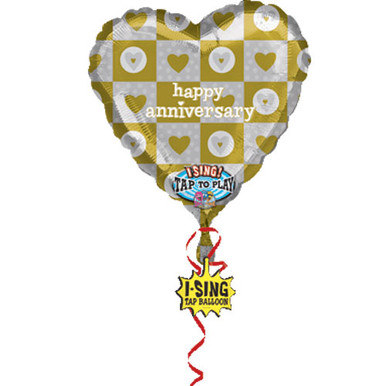 "Happy Anniversary singing balloon. Bouquet includes 4, 18"" mylar balloons (not pictured)."