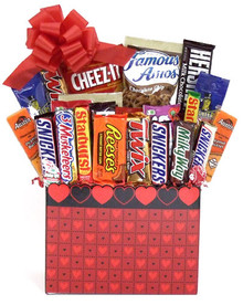 """Large Junk Food Box- Valentine's Day with 2- 18"""" mylar balloons"""