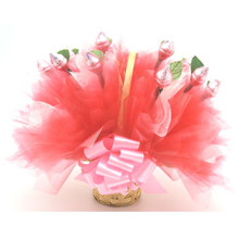 Chocolate Rose Basket- Pink