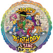 """Rappers Delight Birthday singing balloon. Bouquet includes 4, 18"""" mylar balloons (not pictured)."""