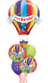 Hot air balloon birthday balloon bouquet