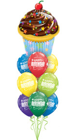Birthday balloon bouquet with cupcake balloon