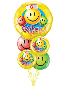 Get Well smiley face balloon bouquet