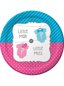 Bow or Bowtie? 7 inch gender reveal paper plate