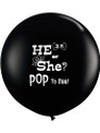 Giant 3 foot black gender reveal confetti balloon. He or She? Pop to see!