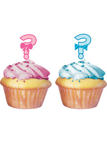 Question mark gender reveal cupcake toppers