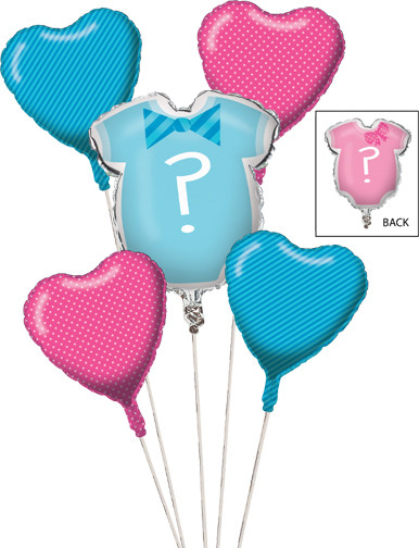 Gender Reveal Mylar Balloon Cluster