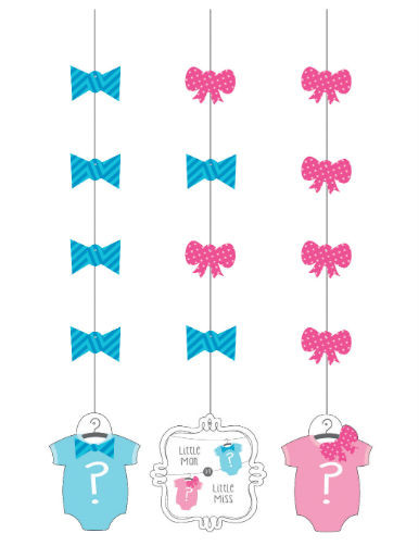 Gender Reveal Hanging Cutout Decorations
