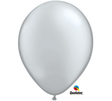 "11"" Qualatex Metallic Silver Latex Balloons"