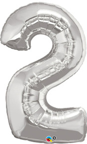 "34"" Silver Number 2 Foil Balloon Shape"