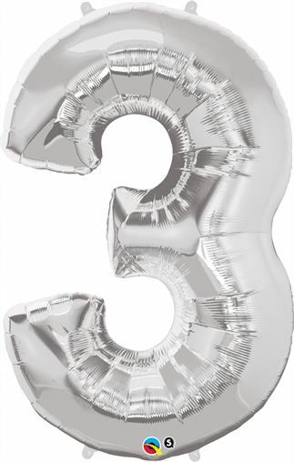 "35"" Silver Number 3 Foil Balloon"
