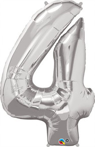 "36"" Silver Number 4 Foil Balloon"