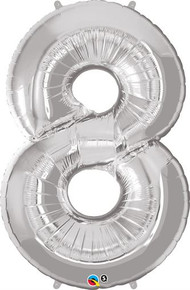 "35"" Silver Number 8 Foil Balloon"