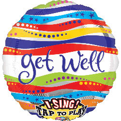 "Get Well ribbons singing balloon. Bouquet includes 4, 18"" mylar balloons (not pictured)."