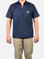 Navy Solid 1/4 Zip Short Sleeve Shirt 168