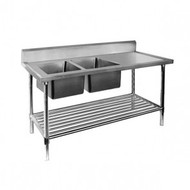 DSB7-2100L/A. Double Left Sink Bench with Pot Undershelf. Weekly Rental $16.00
