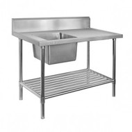 SSB6-2400L/A Single Left Sink Bench with Pot Undershelf. Weekly Rental $12.00