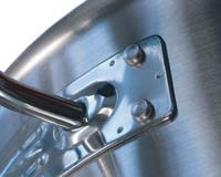 All handles are welded to the bodies and items with a capacity greater than 7 litres have the added support of stainless  steel rivets