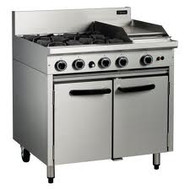 Cobra CR9C - GAS RANGE STATIC OVEN - 4 BURNERS & 300mm GRIDDLE. Weekly Rental $48.00