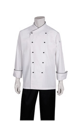 Coogee Executive White Coat with Black Piping