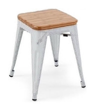 """RFC"" LOW MESH STOOL -WHITE WITH LIGHT TIMBER SEAT"