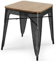 """RFC"" BLACK MESH TABLE WITH LIGHT TIMBER TOP 60x60cm"