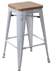 """RFC"" MEDIUM MESH STOOL -WHITE WITH LIGHT TIMBER SEAT"