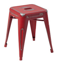 """RFC"" LOW DISTRESSED RED METAL STOOL"