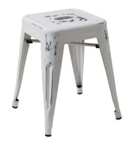 """RFC"" LOW DISTRESSED WHITE METAL STOOL"