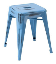 """RFC"" LOW DISTRESSED BLUE METAL STOOL"