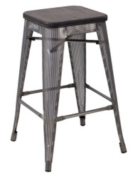 """RFC"" MEDIUM MESH STOOL -METAL WITH DARK TIMBER SEAT"