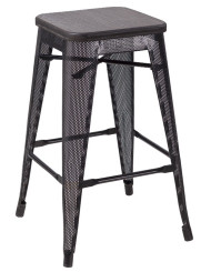 """RFC"" MEDIUM MESH STOOL -BLACK WITH DARK TIMBER SEAT"