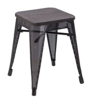 """RFC"" LOW MESH STOOL -BLACK WITH DARK TIMBER SEAT"