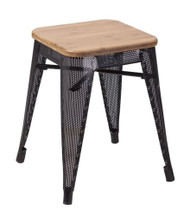 """RFC"" LOW MESH STOOL -BLACK WITH LIGHT TIMBER SEAT"