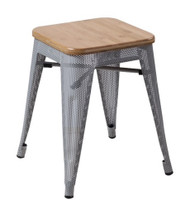 """RFC"" LOW MESH STOOL -SILVER WITH LIGHT TIMBER SEAT"