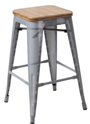 """RFC"" MEDIUM MESH STOOL -SILVER WITH LIGHT TIMBER SEAT"