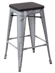 """RFC"" MEDIUM MESH STOOL -SILVER WITH DARK TIMBER SEAT"