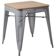 """RFC"" SILVER MESH TABLE WITH LIGHT TIMBER TOP 60x60cm"