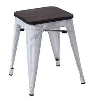 """RFC"" LOW MESH STOOL -WHITE WITH DARK TIMBER SEAT"