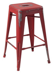 """RFC"" MEDIUM DISTRESSED RED METAL STOOL"