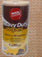 ANTIBACTERIAL HEAVY DUTY COFFEE WIPES -ROLL