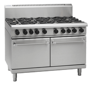 WALDORF GAS EIGHT BURNER WITH DOUBLE STATIC OVEN.