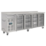 POLAR - CK492 - FOUR GLASS DOOR BENCH FRIDGE WITH SPLASH BACK. Weekly Rental $36.00