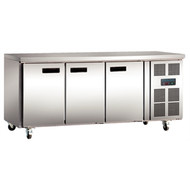 POLAR - G597 - 3 DOOR COUNTER FRIDGE 417 LITRE S/STEEL. Weekly Rental $22.00